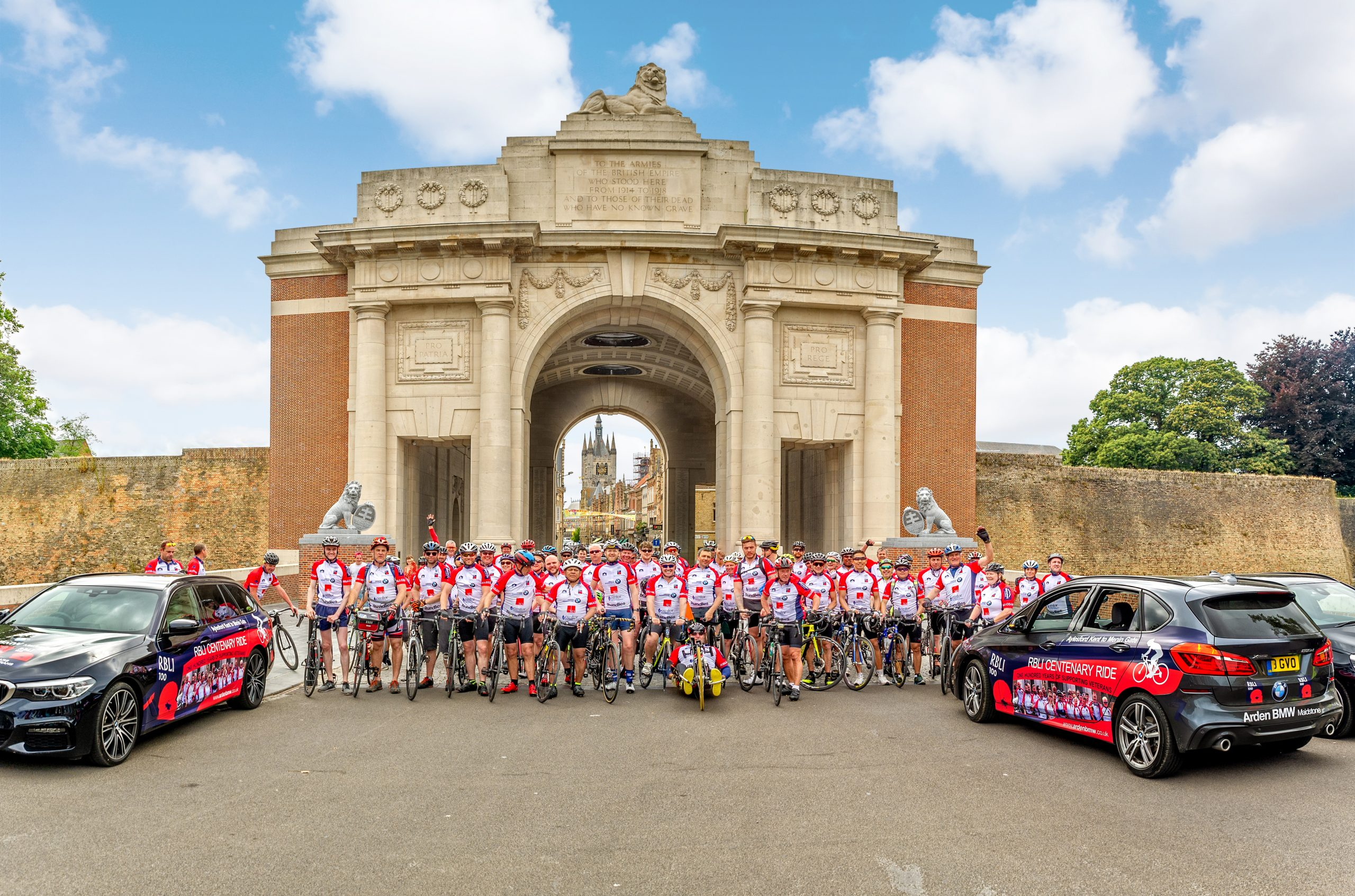 Menin Gate,  several RBLI cyclists on the front